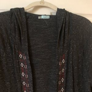 Charcoal heather hooded cardigan with embroidery